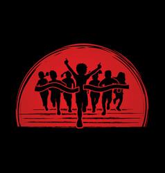 the winner group of children running sport graphic vector image