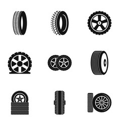 Tire icons set simple style vector