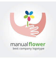 Two hands holding colored flowers nature logotype vector image vector image