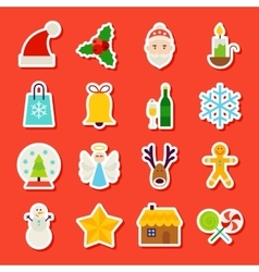 Winter christmas stickers vector