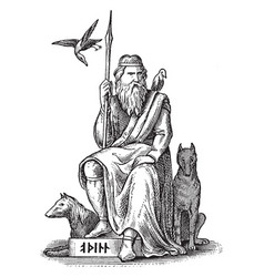 Woden or odin germanic and norse god seated with vector