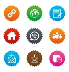 Communication icons contact mail signs vector
