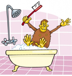 Monkey in bath vector