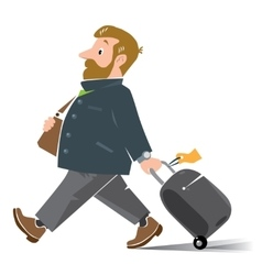 Funny air passenger with suitcase vector