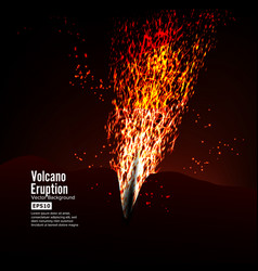 Eruption volcano  thunderstorm sparks big vector
