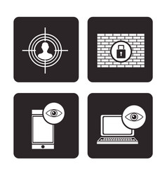 Set cyber security protection data technology vector