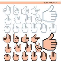 Hand pixel icons vector