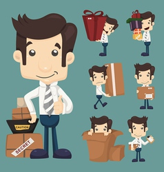 Set of businessman moving office and packing in bo vector