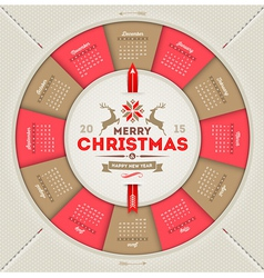 Calendar 2015 with christmas type design vector