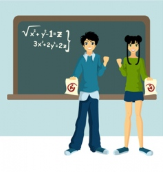 Two students vector