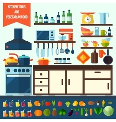 Flat kitchen and vegetarian cooking icons vector