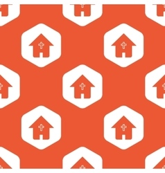 Orange hexagon christian house pattern vector