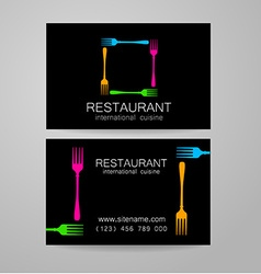 Restaurant logo business card template vector