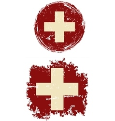 Swiss round and square grunge flags vector