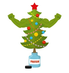 Strong christmas tree bodybuilder tree athlete vector