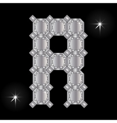 Metal letter r gemstone geometric shapes vector