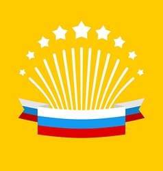 Salute and flag of Russia Fireworks and Patriotic vector image