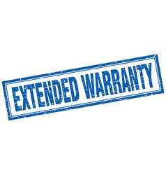 Extended warranty blue square grunge stamp on vector
