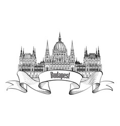 budapest city sign famous parlament building vector image vector image