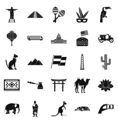 Central america icons set simple style vector