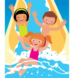 Child boys and girl playing in water park vector image vector image