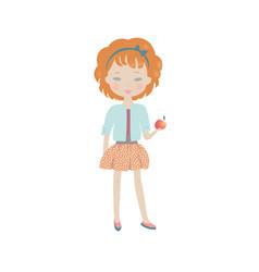 cute cartoon girl with an apple vector image