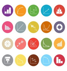 Diagram and graph flat icons on white background vector image vector image
