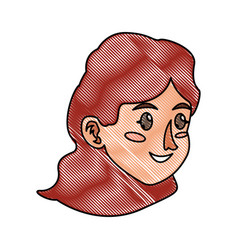 Drawing character face woman young vector