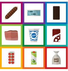 Flat icon eating set of tin tuna confection vector