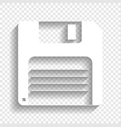 Floppy disk sign white icon with soft vector