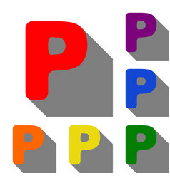 Letter p sign design template element set of red vector