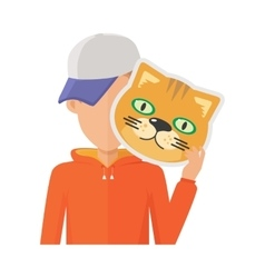 Man with cat mask flat design vector