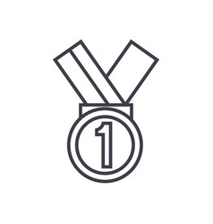 medal first place line icon sign vector image