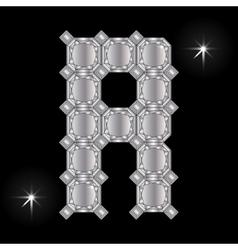 Metal letter r gemstone geometric shapes vector