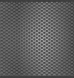 Metal perforated background with hexagon holes vector