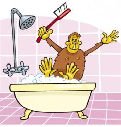 monkey in bath vector image