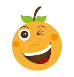 orange fruit character cute icon vector image vector image