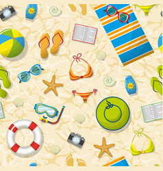 Seamless pattern with summer accessories on beach vector