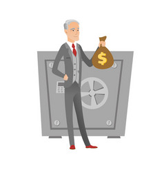 Senior caucasian businessman holding a money bag vector