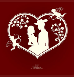 silhouette of a heart with a loving couple and vector image
