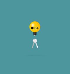 silver keys with lightbulb idea concept vector image vector image