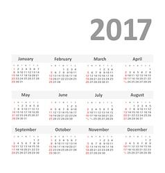 Simple 2017 year calendar vector image