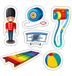 Sticker design with different toys vector