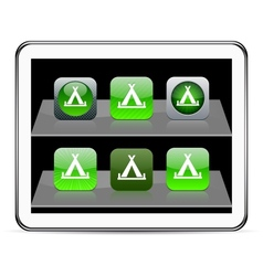 Tent green app icons vector image