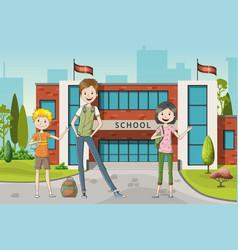 three school kids vector image