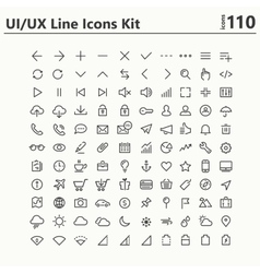 UI and UX big bold line icons kit vector image vector image