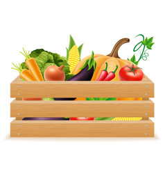 wooden box with fresh and healthy vegetables vector image vector image