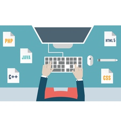 Workplace of programmer and process coding vector image