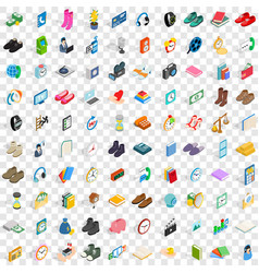 100 donation icons set isometric 3d style vector