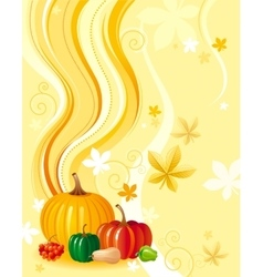 Autumn food background with pumpkin icon vector
